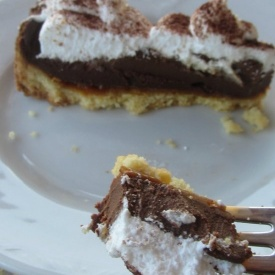 cream, chocolate and salted caramel tart