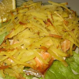Salmone in crosta di patate